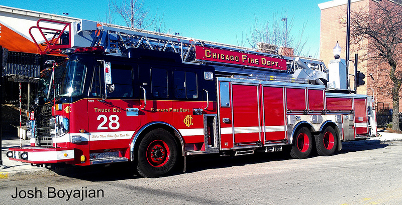 Spartan ERV Crimson aerial ladder for the Chicago Fire Department Truck 28