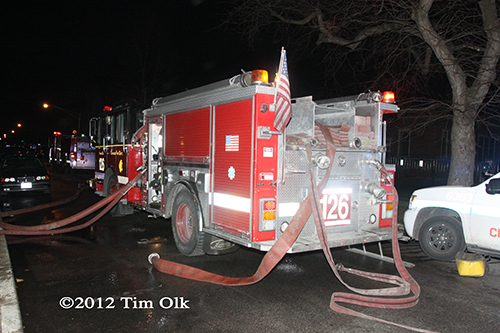 Chicago Fire Department engine working at fire scene