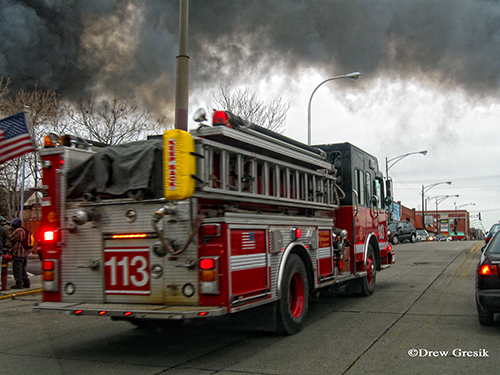 Chicago Engien 113 at the Chicago 4-11 Alarm fire at 2444 W. 21st Street 12-29-12