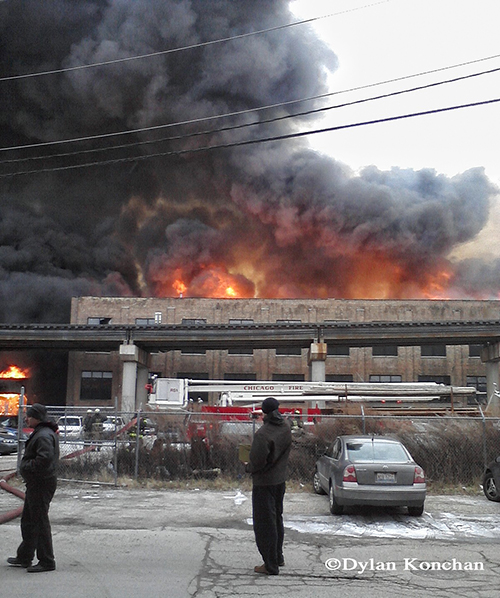 85' Snorkel goes to work at Chicago 4-11 Alarm fire at 2444 W. 21st Street 12-29-12