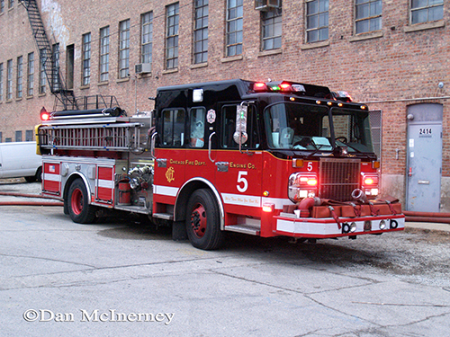 Chicago fire department engine pumping at fire