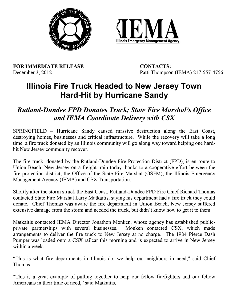Rutland-Dundee FPD donates fire engine to New Jersey town