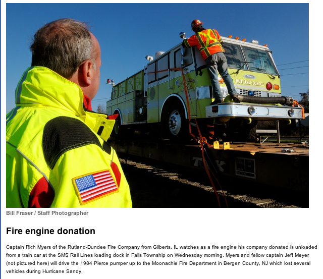 fire truck donated to fire department devastated by superstorm Sandy