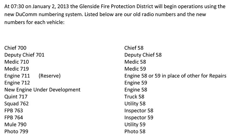 Glenside FPD new numbering system