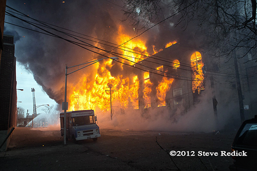 massive fire and heavy smoke at the Chicago 4-11 Alarm fire at 2444 W. 21st Street 12-29-12