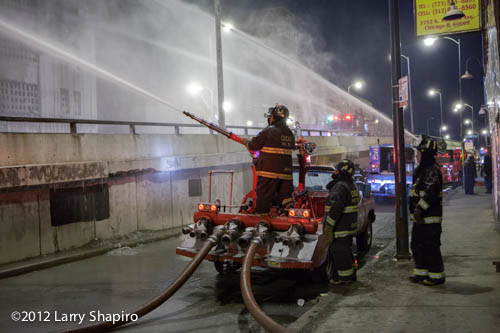 turret wagon flowing water at large fire in Chicago