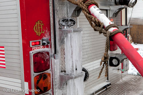 Water dripping from the rear discharge on Engine 39 froze. Larry Shapiro photo