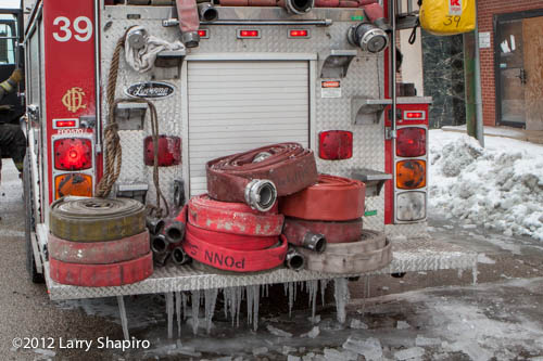 fire truck coated with ice