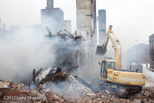 demolition of building destroyed by fire