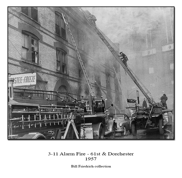 historic fire in Chicago during 1957 at 61st and Dorchester 3-11 alarm fire