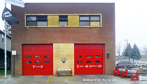 Chicago firehouse with red doors