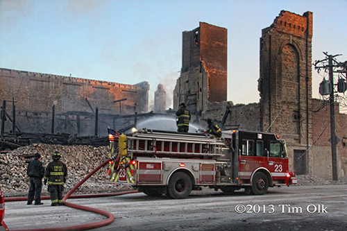 Engine 23 at the ruins of the Chicago 4-11 Alarm massive fire at commercial warehouse facility 12-29-12 at 2444 S. 21st Street