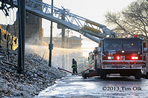 ruins of the Chicago 4-11 Alarm massive fire at commercial warehouse facility 12-29-12 at 2444 S. 21st Street