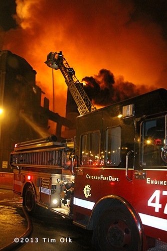 Chicago fire engine at massive fire