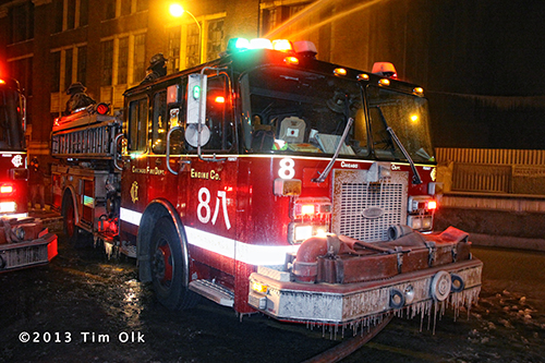 Chicago fire engine with ice