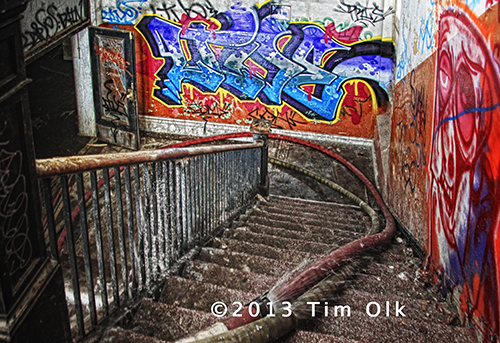 graffiti and ice on staircase