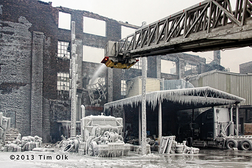 ruins of massive warehouse fire in Chicago