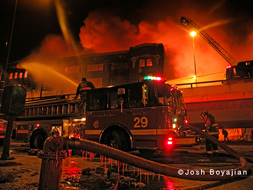 Chicago fire engine at large fire