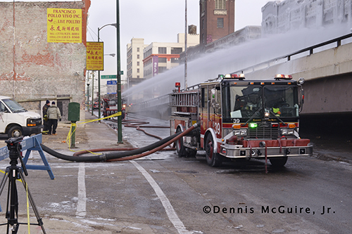 Chicago fire engine pumping at scene