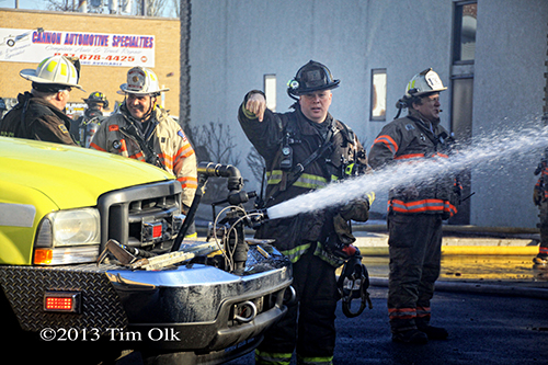 Chicago Squad 7 working at the auto repair shop fire in Franklin Park on Mannheim Road
