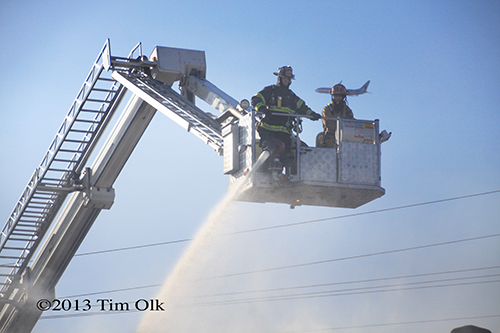Bronto Sky-Lift working at auto repair shop fire in Franklin Park on Mannheim Road