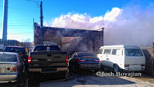 auto repair shop fire in Franklin Park on Mannheim Road