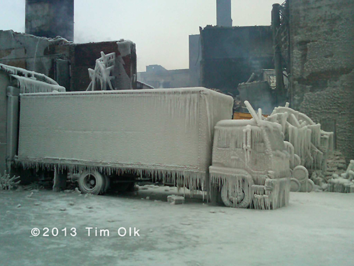 truck covered with ice