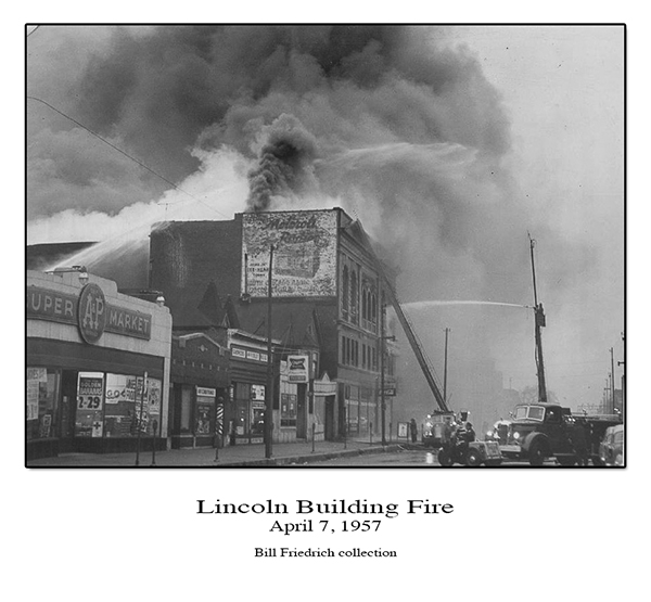 historic Lincoln Building fire in CHicago 1957