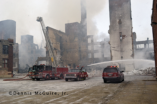 Chicago fire units at the scene of a massive sarehouse fire