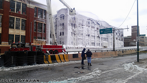 building encased in ice after huge fire Snorkel at work