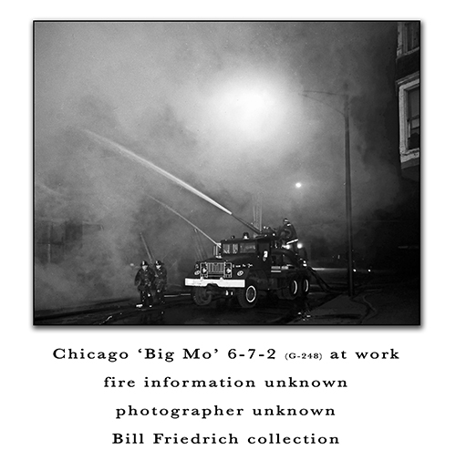Chicago FD Turret Wagon 6-7-2 Big Mo working at a fire