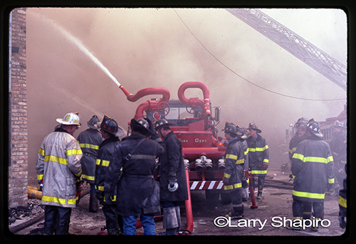 CFD Turret Wagon 6-7-1 working in the rear at a 5-11 Alarm fire in June of 1985 on Clinton. Larry Shapiro photo