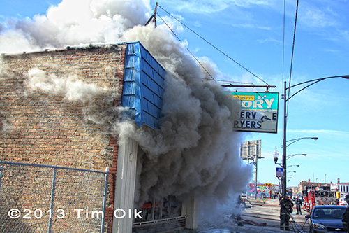 heavy smoke from burning building