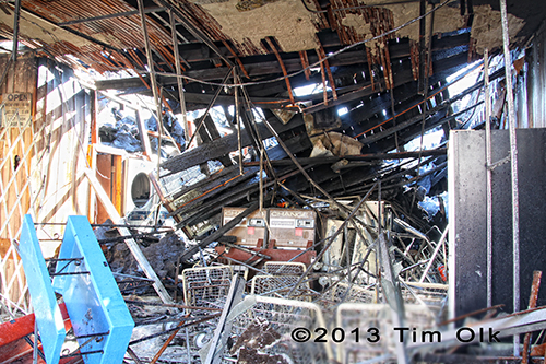 destruction inside building after fire