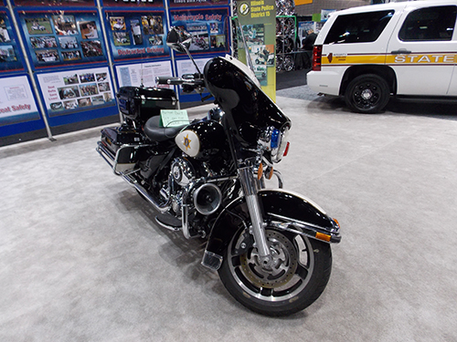 Illinois State Police motorcycle  at the Chicago Auto Show