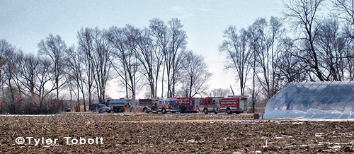 fire engines at fire scene