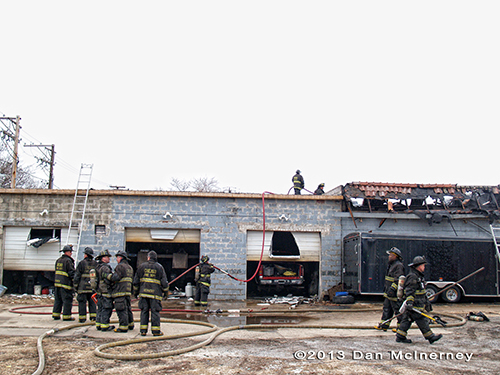 auto repair shop fire in Chicago
