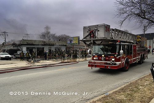 Chicago FD Tower Ladder 34 at fire scene