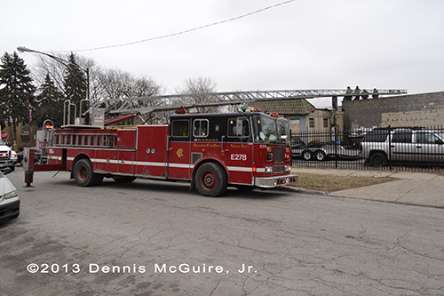 Chicago Seagrave ladder truck at fire scene