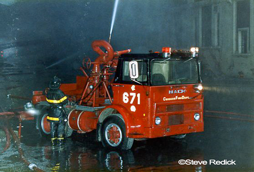 Chicago FD turret wagon at 5-11 fire scene