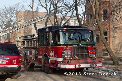 Chicago Engine 44 Chicago FD trucks at fire scene