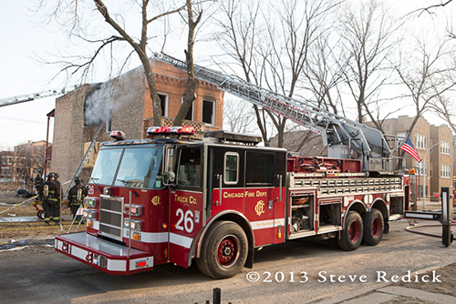 Chicago FD at the scene of a vacant building fire