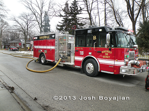 Bensenville fire engine at fire scene