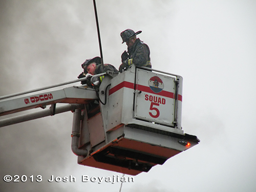 Chicago Squad 5 Snorkel working at extra alarm fire