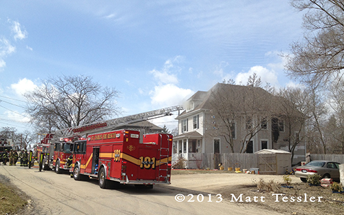 house fire scene in St Charles IL