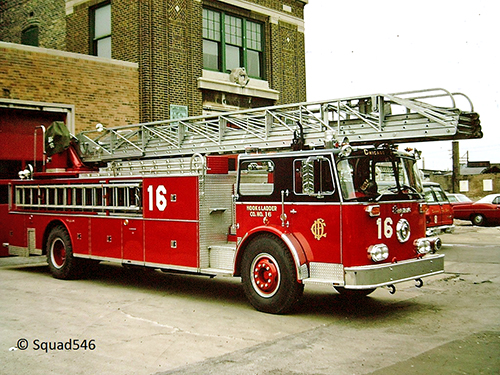 Chicago Truck 16 Seagrave rear-mount aerial