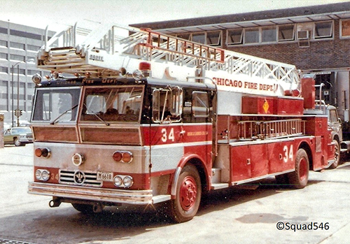 Chicago Fire Department Ward LaFrance Grove ladder truck
