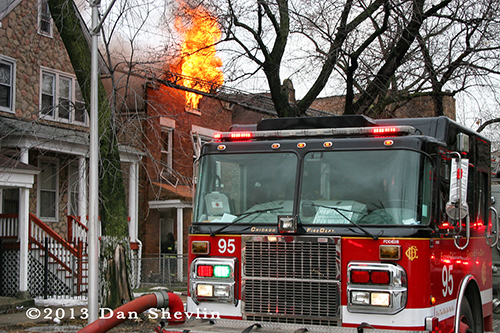 Chicago Fire Department raging house fire