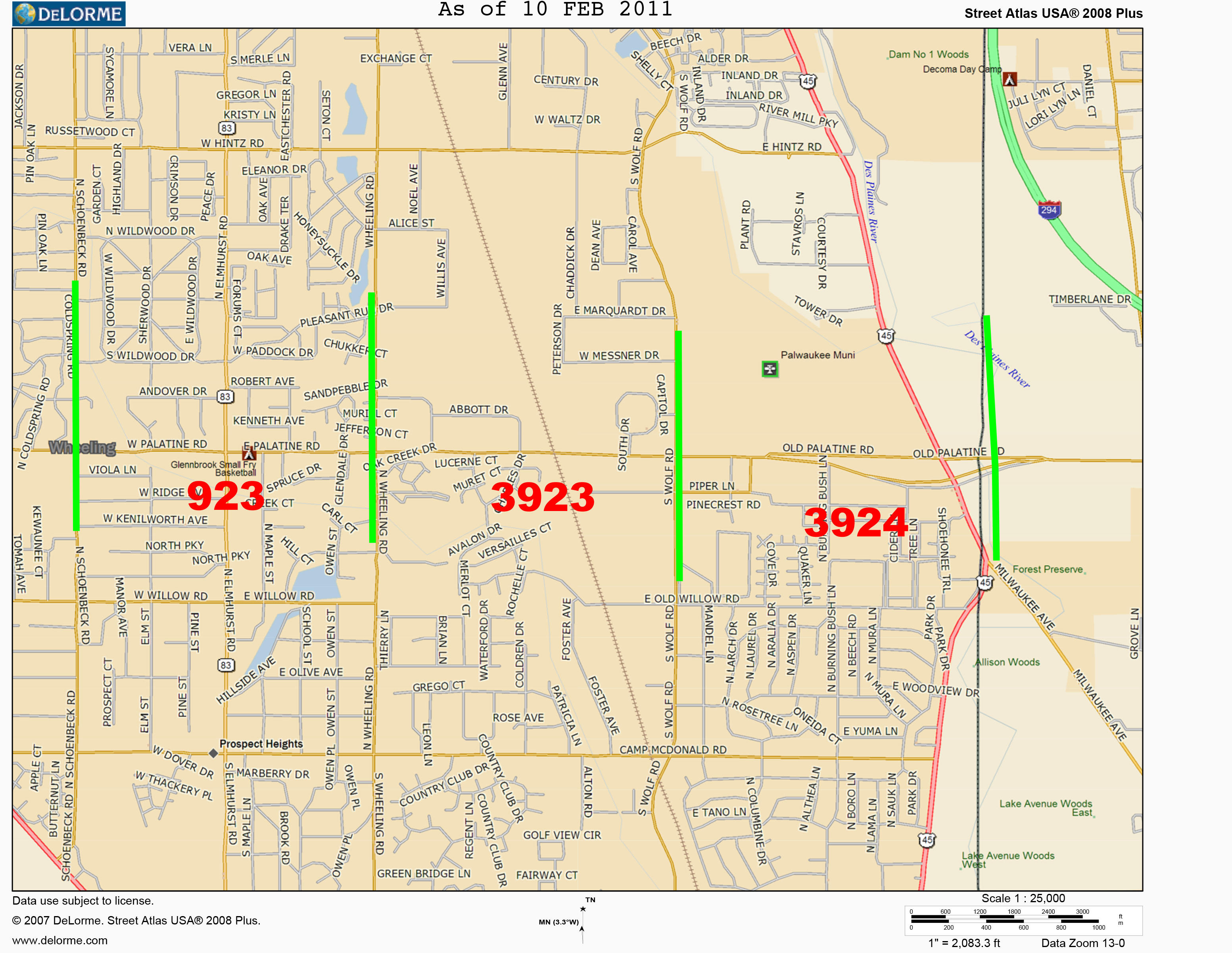 Prospect Heights FPD grid map for Palatine Road