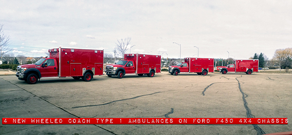 four new ambulances being delivered